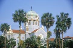 Flagler presbyteriansk minnesmärkekyrka i den äldsta ständigt bebodda staden i Amerika i St Augustine, FL Arkivbilder