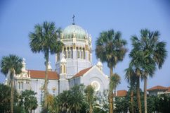 Flagler Prezbiteriański Pamiątkowy kościół w starym nieustannie zamieszkanym mieście w Ameryka w świętym Augustine, FL obrazy stock