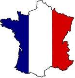 Flagmap della Francia Immagini Stock