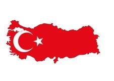Flagmap della Turchia Immagini Stock
