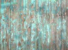 Flagnande blått målat gammalt grått träplankavägg eller staket arkivbild