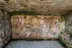 Flagnande mosaikdiagram i en våt forntida roman grottavägg royaltyfria foton