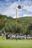 Flagpole, Ball, Green & Crowds Stock Images