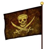 Flagpole with pirate flags Royalty Free Stock Images