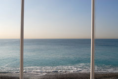 Flagpoles at the Mediterranean Sea. 