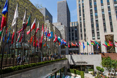 Flagpoles in NYC. Flagpoles display flags of United Nations member countries around the Rockefeller plaza. There are some 200 of them Royalty Free Stock Photography