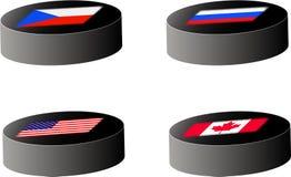 flags шайбы хоккея Стоковые Изображения RF