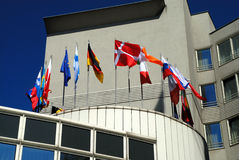 Flags 1. The European flags on roofs hotel Royalty Free Stock Photos