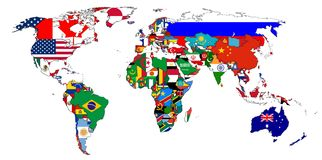 Flags. Of the countries on the world map isolated on white background vector illustration