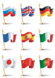 Flags. Vector illustrations of desktop flags of nine countries of the world: Russia, Great Britain, Germany, France, Spain, Italy, Japan, China, Portugal Stock Image