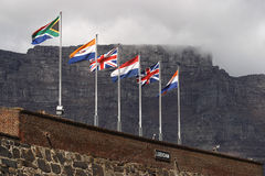 Flags. One of the bastion of the Castle of Good Hope in Cape Town South Africa Royalty Free Stock Images
