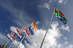 Flags. On the bastion of the castle at Cape Town Royalty Free Stock Photography