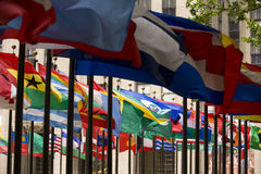Flags. At Rockefeller Center in New York Royalty Free Stock Photo