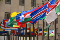 Flags. At Rockefeller Center in New York Royalty Free Stock Image