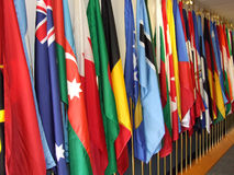 Flags. Collection of flags arranged vertically in a row Stock Photography