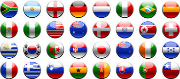 Flags 2010 FIFA world cup. Buttons country´s world champion 2010,32 flags-buttons,plastic style,world cup 2010,soccer teams Stock Photo
