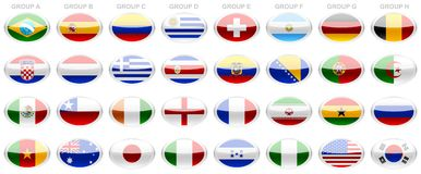 Flags 2014 FIFA world cup. Buttons, set icons, banners, glass buttons,  set, flags of the world, football picks, flags and shields, world cup 2014 Stock Photo