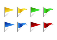 The flags. The picture of red, green, blue and yellow flags Stock Images