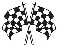 Flags. Racing checkered flag crossed, finishing checkered flag, finish flags Stock Photo
