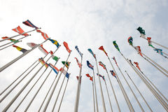 Flags. Of the world happily blowing in the wind royalty free stock photos