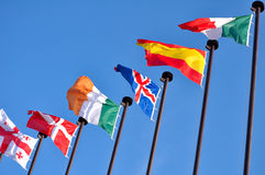 Flags. Of the different countries of the world against the sky Royalty Free Stock Image