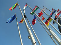The flags. The flags of some countries on background blue sky Stock Images