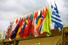 Flags. Colorful flags on sunny day Royalty Free Stock Image