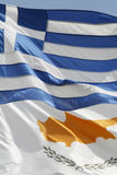 Flags. Cyprus and greek flags in the sky Royalty Free Stock Photos