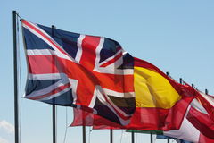 Flags. In the wind outdoors on a sunny day Stock Photography