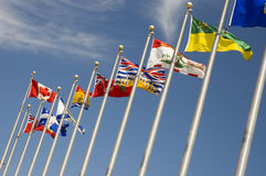 Canadian Provinces Flags. View of flags representing every province of Canada royalty free stock images