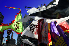 Flags. Lion dance in Chinatown, Boston during Chinese New Year celebration Royalty Free Stock Image