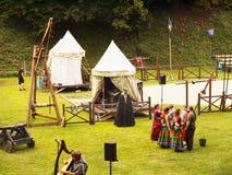 празднество flags средневековое небо Стоковая Фотография RF