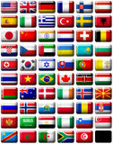 Flags. 59 flags icons (the countries of all continents) 599x457 pixels royalty free illustration