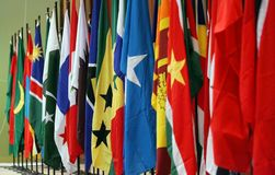 Flags. Rows of countries flags royalty free stock photo