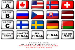 Flags. Set national icons for hockey tournament 2010 Stock Illustration