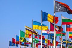 Flags. On blue sky, Leipziger Messe, Leipzig, Germany Royalty Free Stock Image