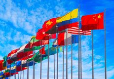 Flags. Group of flags against blue sky Stock Image