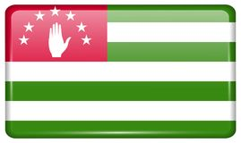 Flags Abkhazia in the form of a magnet on refrigerator with reflections light. Flags of Abkhazia in the form of a magnet on refrigerator with reflections light Royalty Free Stock Photography