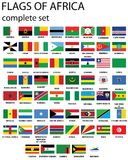 Flags of Africa. Complete set of flags in original colors over white background Royalty Free Stock Photography