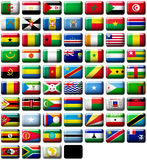 Flags of Africa. 66 flags icons (buttons) of Africa 599x457 pixels including not recognised countries vector illustration