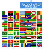 Flags of Africa Complete Set. Flag set in alphabetical order.All elements are separated in editable layers clearly labeled Stock Photos