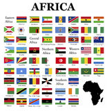 Flags of Africa. Complete set of flags in original colors over white background Stock Photos