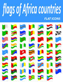 Flags of Africa countries flat icons vector illustration Stock Photography
