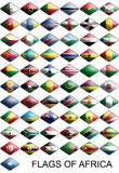 Flags Of Africa, Countries, Nations, Colours. Set of flags about african countries. The flags looks like web buttons and are ready for making easly web pages and Stock Photos