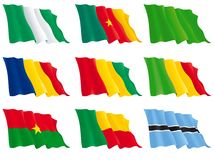 Flags of the African countries. Flags of Nigeria, Cameroon, Chad, Libya, Guinea, Mali, Burkina Faso, Benin, Botswana. There are no meshes in this images. Vector Royalty Free Stock Photography