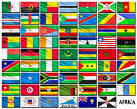 Flags of African countries in alphabetical order Stock Images