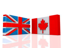 Flags Agreement Canada and United States of America Royalty Free Stock Images