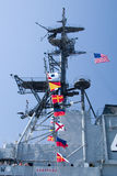 Flags on Aircraft Carrier. The row of flags found on the USS Midway Aircraft Carrier royalty free stock photo