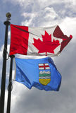 Flags of Alberta and Canada royalty free stock photo