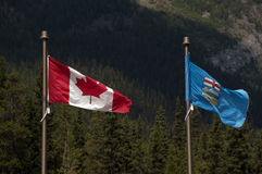 Flags of Alberta, Canada Stock Photography
